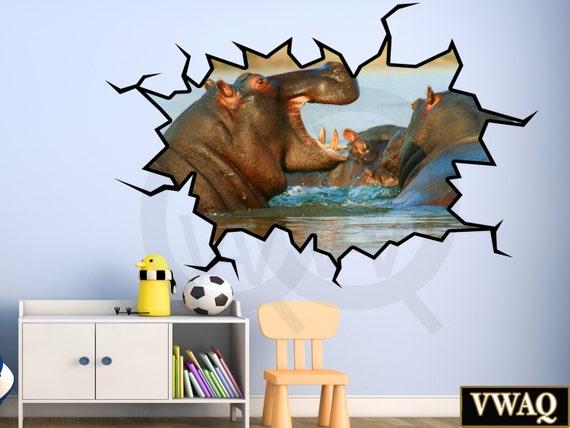3d wall decal hippo decal 3d animals wall sticker hippopotamus | etsy