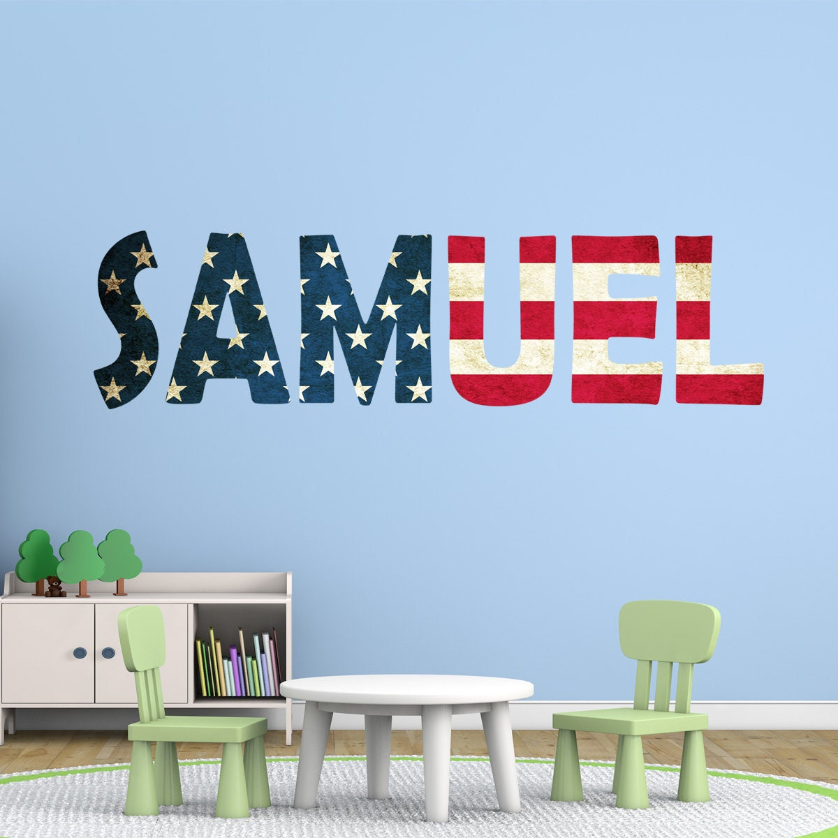 American flag wall decal custom name usa patriotic wall art sticker red white blue an1