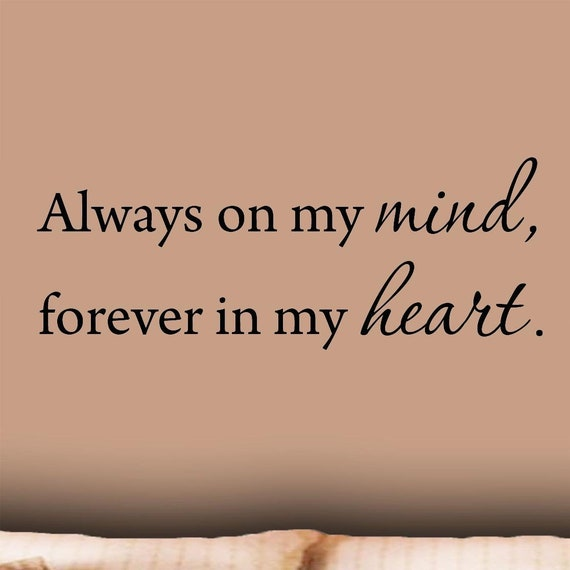 Vwaq Always On My Mind Forever In My Heart Love Wall Decals Etsy