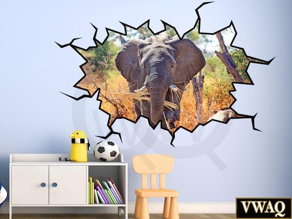 3d elephant wall sticker safari animal decor 3d wall decal | etsy