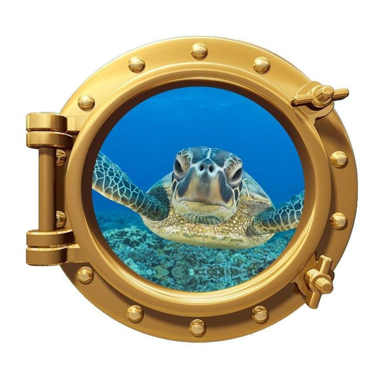 Sea Turtle Porthole View Underwater Ocean Life Peel Stick Wall Decal Mural PO97