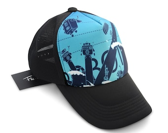 Fu-design Store ROBOT 99 Blue Adjustable Trucker Hat