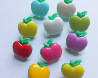 10 Apple with leaf stalk buttons plastic with loop assorted colours