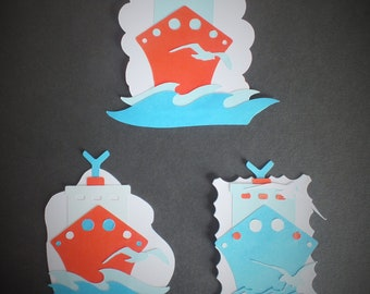 3 large Cruise ship die cut shapes card toppers assembled waves seagulls Holiday