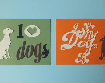 2 card toppers I Love Dogs die cut shapes I Love My Dog assorted colours plaques