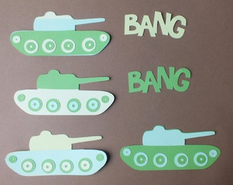 4 TANK die cut shapes ASSEMBLED Bang Bang Card Toppers Military Army