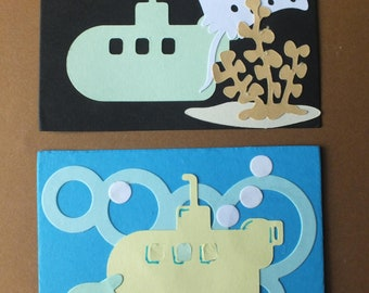 2 Submarine card toppers die cut shapes pale green Sting Ray Fish