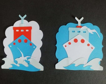 2 large Cruise ship die cut shapes card toppers assembled waves seagulls Holiday