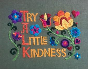 Try A Little Kindness Vintage inspired Crewel Kit