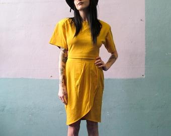 Vtg 80s Mustard Crop Top Outfit / Tulip Hem Skirt