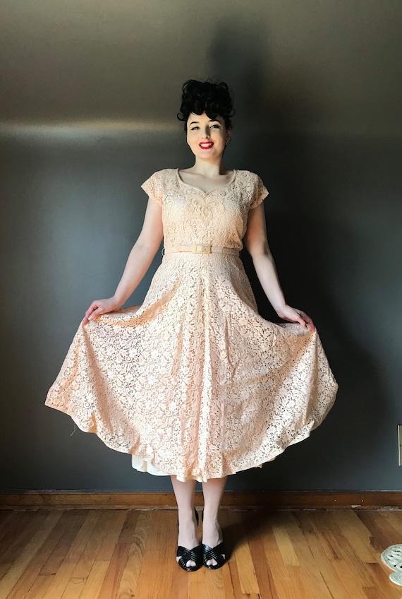 Vtg 40s Lace Dress