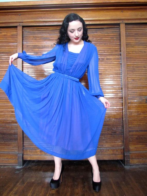 Vintage 70s Blue Chiffon Dress / Goth / Witchy Dre