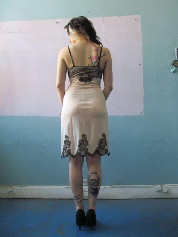 Amazing Vtg 50s 60s Lace Trim Full Slip Dress / M… - image 4