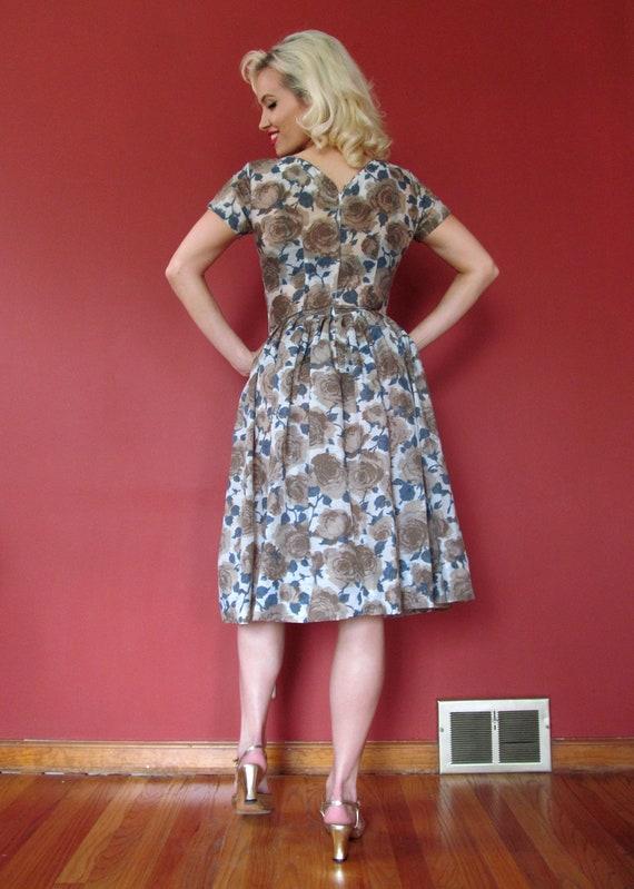 Vtg 50s Floral Dress / Rose Print - image 5