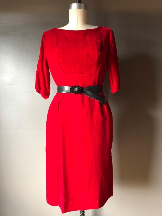 Vtg 60s Red Velvet Dress