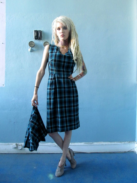 Vtg 40s 50s Blue Plaid Dress / Matching Bolero Jac