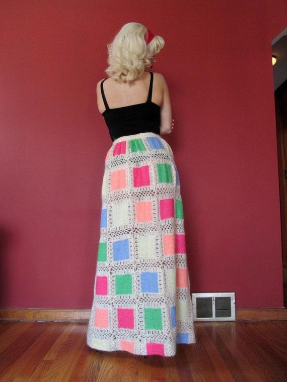 Vtg 60s 70s Crochet Granny Square Style Skirt