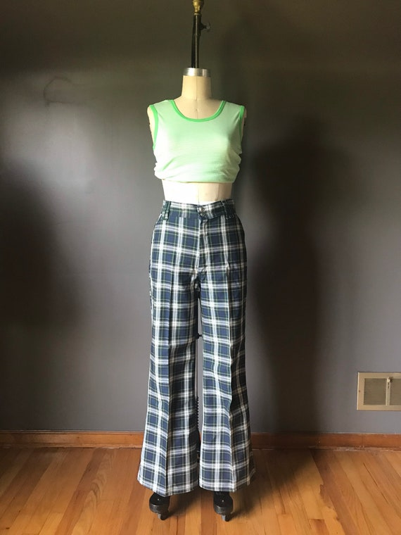 Vtg 70s Super Denim Plaid Pants / Bell Bottoms