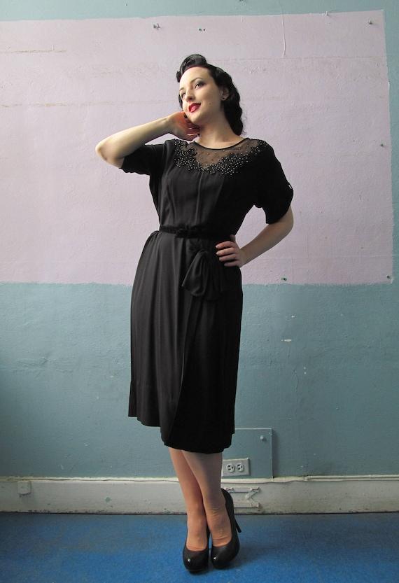 Vtg 50s Black Dress / Illusion Neckline / Bombshel