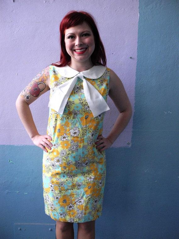 Vtg 60s Mod Floral Dress / Peter Pan Collar / Bab… - image 1