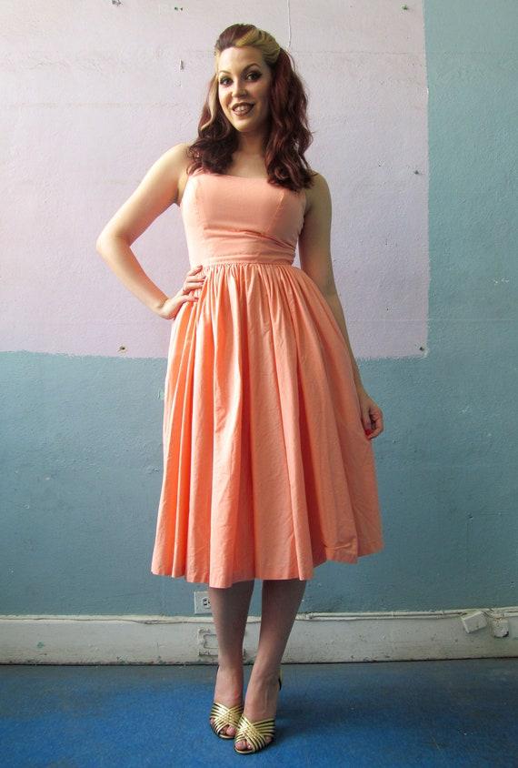 Vtg 50s Peach Sun Dress