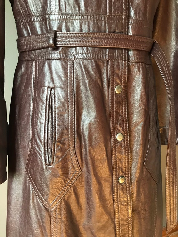 Vtg 70s Brown Leather Trench - image 5