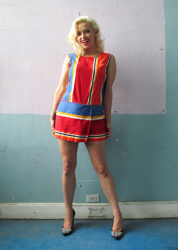 Vtg 60s Striped Playsuit Romper