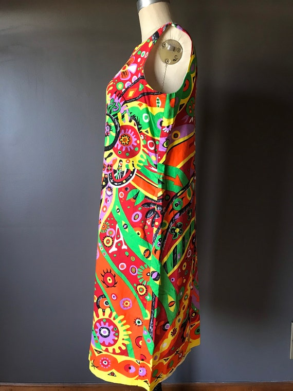 Vtg 60s Abstract Psychedelic Print Dress - image 5