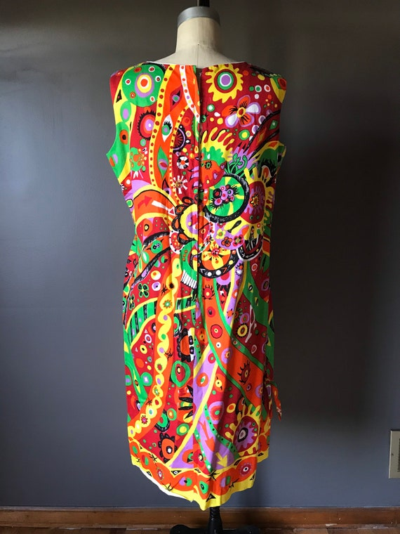Vtg 60s Abstract Psychedelic Print Dress - image 2