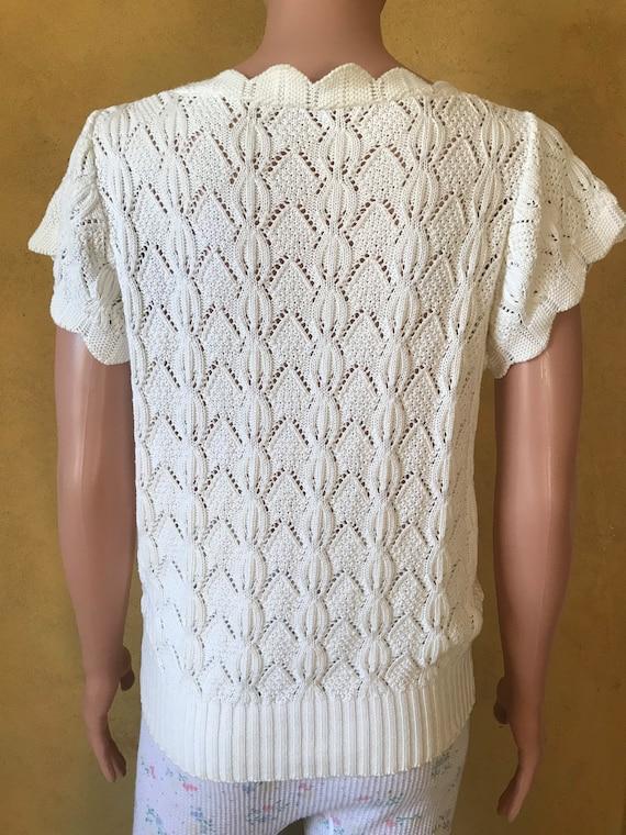 Vtg 70s 80s Sweet Sweater Knit Blouse - image 5