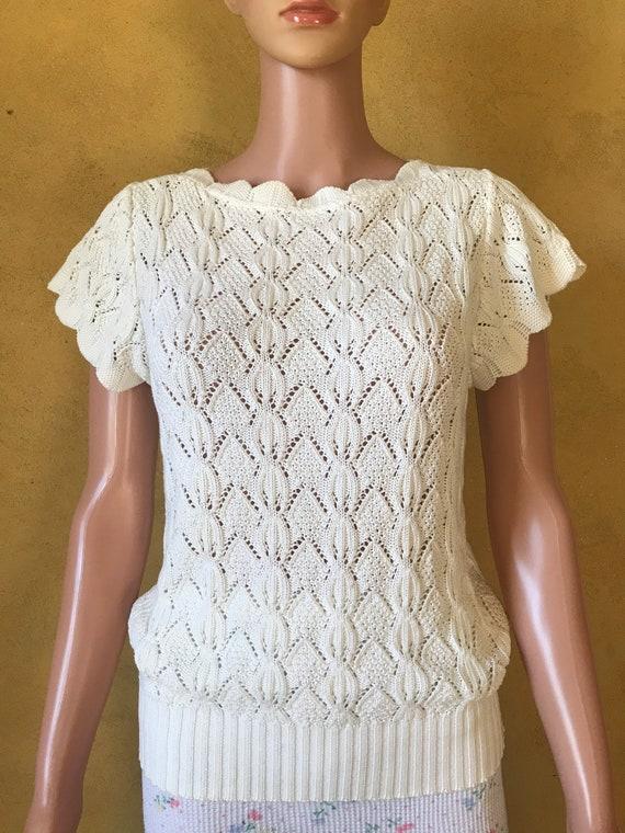 Vtg 70s 80s Sweet Sweater Knit Blouse - image 6