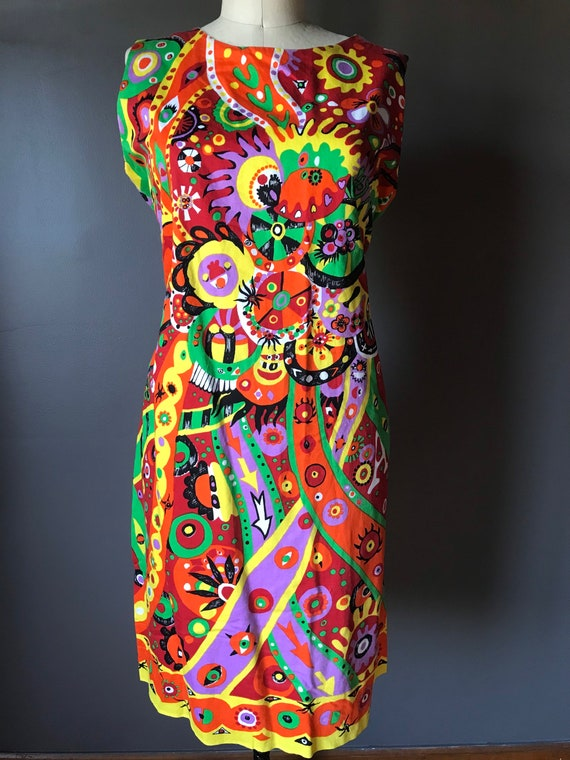 Vtg 60s Abstract Psychedelic Print Dress - image 3