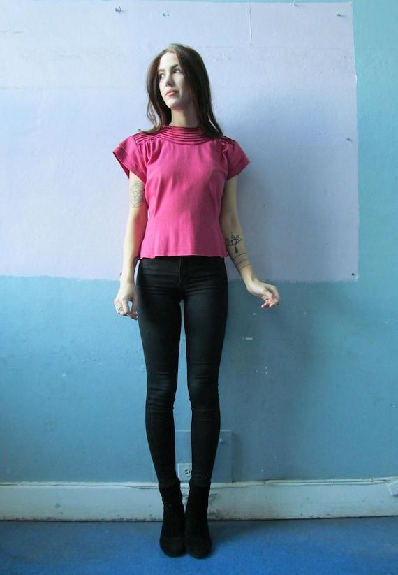 Vtg 70s 80s Pink Blouse / Disco Doll - image 2