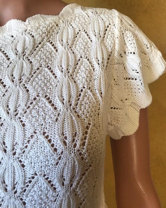 Vtg 70s 80s Sweet Sweater Knit Blouse - image 2