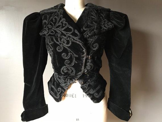 Vtg 20s Fitted Victorian Velvet Jacket