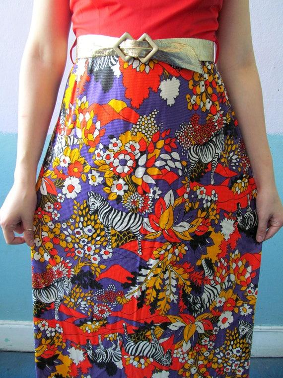 Vtg 60s 70s Psychedelic Zebra Print Maxi Dress - image 5