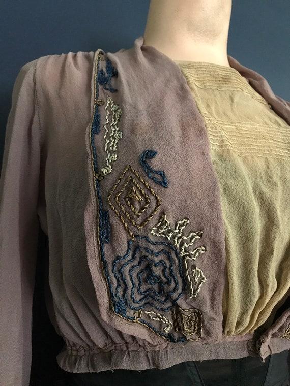 Antique Victorian Edwardian Sheer Blouse Top - image 3