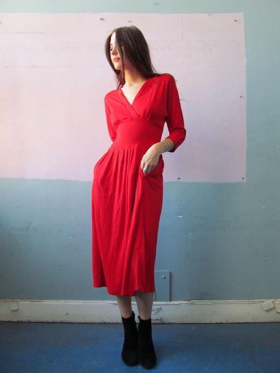 Vtg 70s 80s Red Dress / Button Up Back