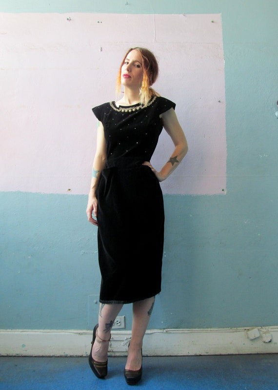 Vtg 40s 50s Black Velvet Bombshell Dress