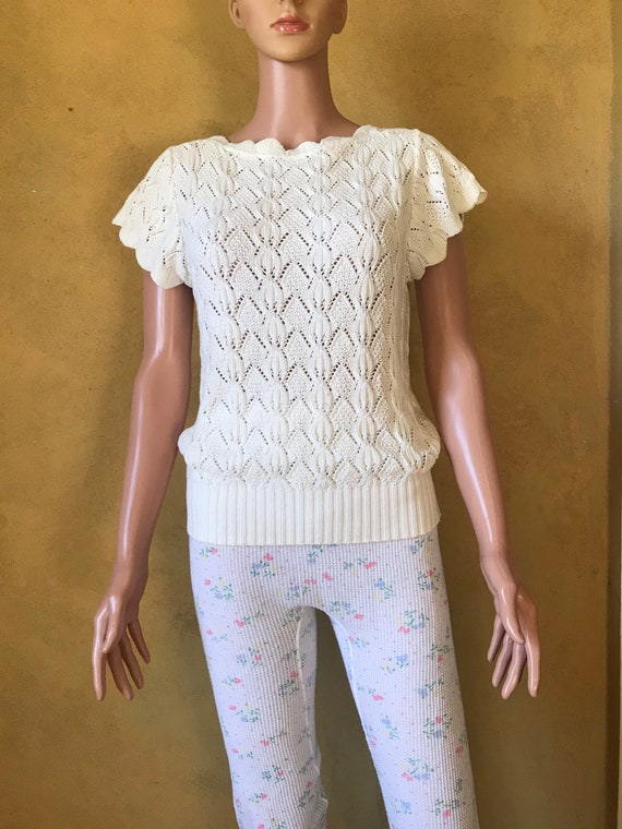 Vtg 70s 80s Sweet Sweater Knit Blouse - image 3