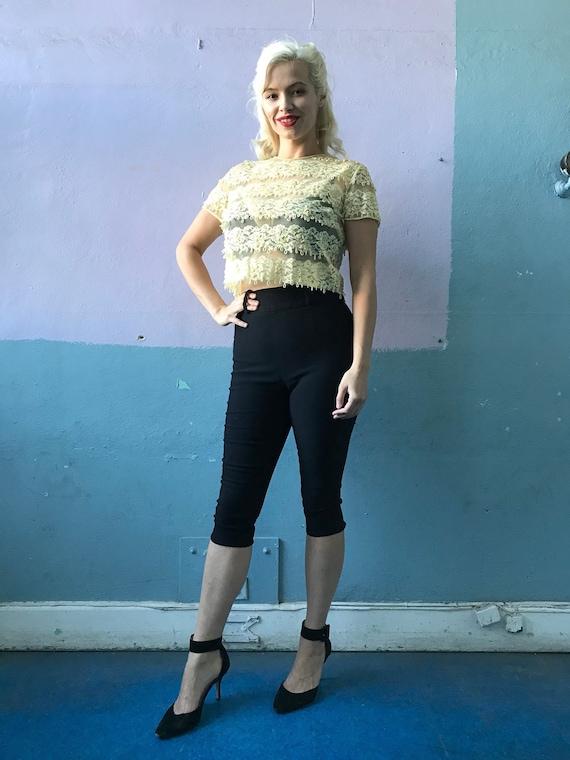Vtg 60s Yellow Lace Blouse