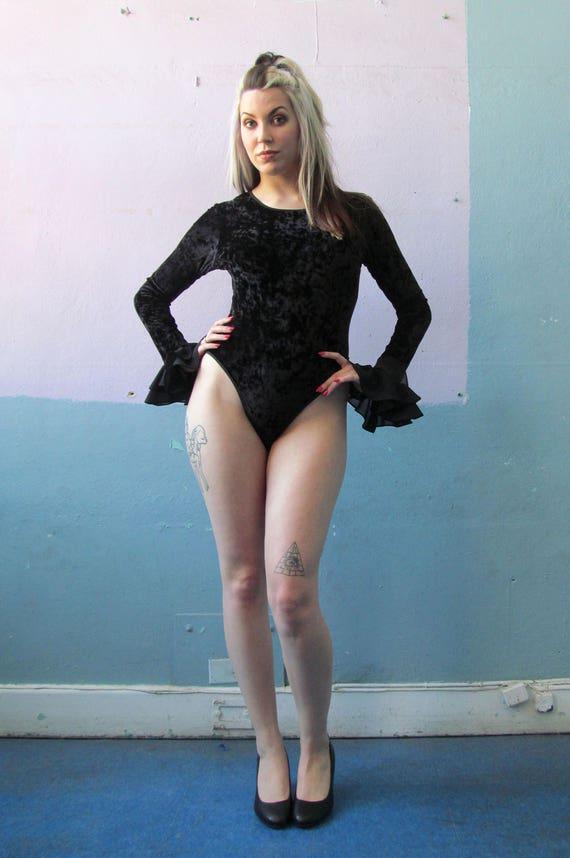 Vtg 90s Crushed Velvet Bodysuit / Witchy Goth