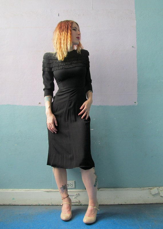 Vtg 40s 50s Black Rayon Crepe Dress / Fringe
