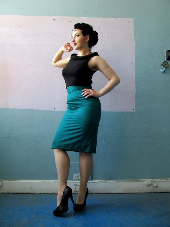 Vtg 50s 60s Pencil Skirt / Teal Bombshell