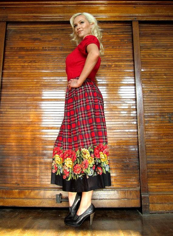 Vtg 80s 90s Plaid & Floral Wide Leg Crop Gaucho P… - image 3