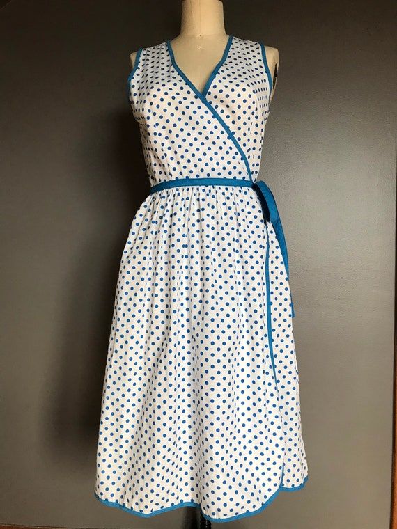Vtg Concept 80s Polka Dot Wrap Dress