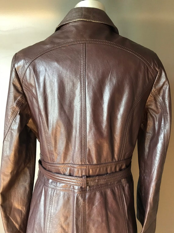 Vtg 70s Brown Leather Trench - image 6