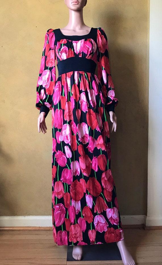 Vtg 60s 70s Tulip Print Dress - image 1