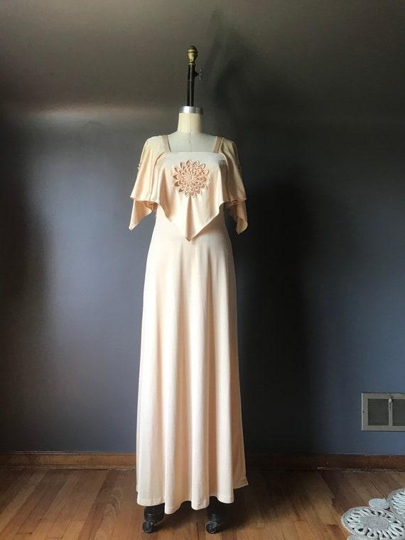 Vtg 70s Cut Out Champagne Hanky Dress