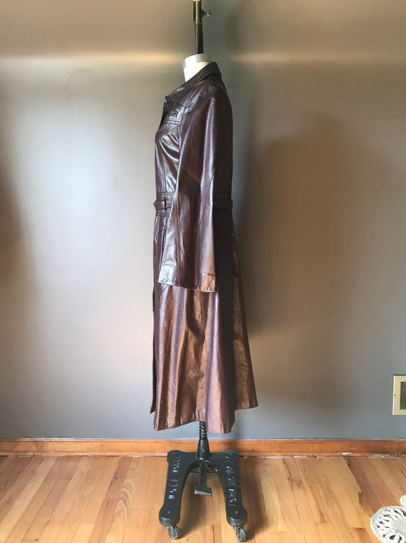 Vtg 70s Brown Leather Trench - image 3